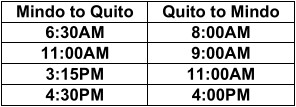 Bus schedule Mindo
